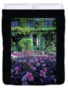 Monet's House With Tulips Duvet Cover