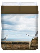 Monitored Seagull Take-off Duvet Cover