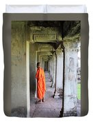 Monk Among The Ruins At Angkor Wat, Cambodia Duvet Cover