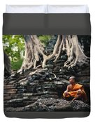 Monk At Preah Palilay Temple Duvet Cover