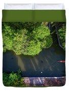 Monk Rowing Boat Along Floating Market Aerial View Duvet Cover by Pradeep Raja PRINTS