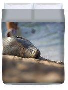 Monk Seal Basking. Duvet Cover