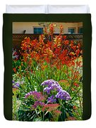 Yellow-orange Kangaroo Paws And Sea Lavender By Napier At Pilgrim Place In Claremont-california Duvet Cover
