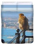 Monkey Overlooking Spain Duvet Cover