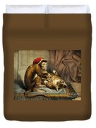 Monkey Physician Examining Cat For Fleas Duvet Cover