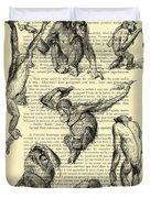 Monkeys Black And White Illustration Duvet Cover