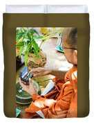 Monks Blessing Buddhist Wedding Ring Ceremony In Cambodia Asia Duvet Cover