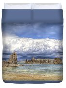 Mono Lake Tufas And Clouds Duvet Cover