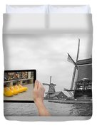 Monochromatic Concept Travel To Netherlands Duvet Cover