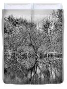 Monochrome Autumn Reflections Duvet Cover