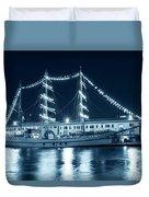 Monochrome Blue Boston Tall Ships At Night Boston Ma Duvet Cover