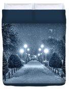 Monochrome Blue Nights Boston Public Garden Snow Storm Ma Massachusetts Bridge Lights Duvet Cover