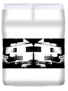 Monochrome Building Symmetry Abstract Duvet Cover