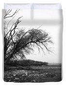 #monochrome #lake #landscape  #stausee Duvet Cover