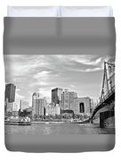 Monochrome Pittsburgh Panorama Duvet Cover