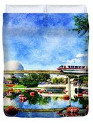 Monorail Red - Coming 'round The Bend Duvet Cover