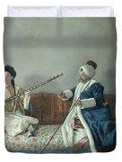 Monsieur Levett And Mademoiselle Helene Glavany In Turkish Costumes Duvet Cover