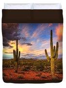 Monsoon Desert Sunset  Duvet Cover