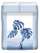 Monstera Leaf-blue Duvet Cover