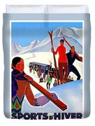Mont Blanc, Mountain, France, Skiing Duvet Cover