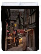 Mont-st-michel, Grand Rue At Night Duvet Cover