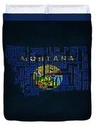 Montana Typographic Map Duvet Cover