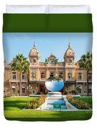 Monte Carlo Casino And Sky Mirror In Monaco Duvet Cover