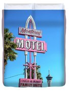 Monterey Motel Sign And The Stratosphere Duvet Cover