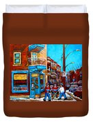 Montreal City Scene Hockey At Wilenskys Duvet Cover