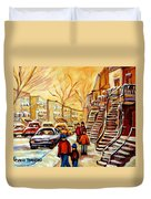Montreal City Scene In Winter Duvet Cover