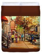 Montreal Downtown  Crescent Street Couples Walking Near Cafes And Rstaurants City Scenes Art    Duvet Cover