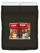 Montreal Hebrew Delicatessen Schwartzs By Montreal Streetscene Artist Carole Spandau Duvet Cover