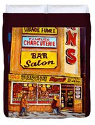 Montreal Paintings Dunns Restaurant Streets Of Montreal Duvet Cover