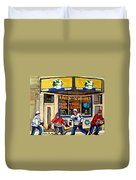 Montreal Poolroom Hockey Fans Duvet Cover