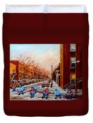 Montreal Street Hockey Game Duvet Cover
