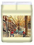 Montreal Street Hockey Paintings Duvet Cover