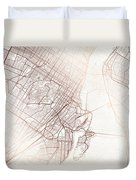 Montreal Street Map Colorful Copper Modern Minimalist Duvet Cover