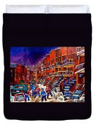 Montreal Street Scene Paintings Hockey On De Bullion Street   Duvet Cover