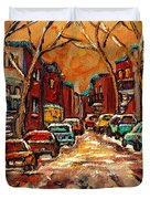 Montreal Streets In Winter Duvet Cover