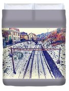 Montreux, Tracks In The City. Duvet Cover