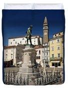 Monument And Statue Of Giuseppe Tartini At Tartini Square Piran  Duvet Cover