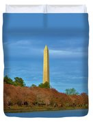 Monument Blossoms, Japanese Cherry Blossom Trees With The Washington Monument In The Background Duvet Cover