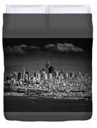 Moody Black And White Photo Of San Francisco California Duvet Cover