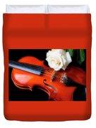 Moody Violin And Rose  Duvet Cover