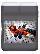 Moody Violin Scroll On Sheet Music Duvet Cover
