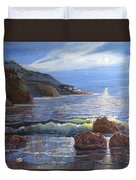Moon Above The Olympic Peninsula Duvet Cover