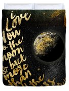 Moon And Back Stars Night Duvet Cover