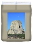 Moon And Devil's Tower National Monument, Wyoming Duvet Cover