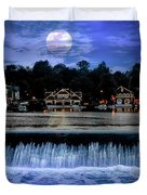 Moon Light - Boathouse Row Philadelphia Duvet Cover