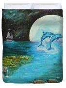 Moon Light Swim  Duvet Cover